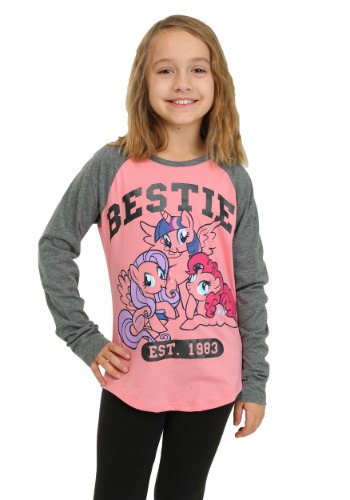 MLP Besties Pink and Grey Sleeve Raglan Girls