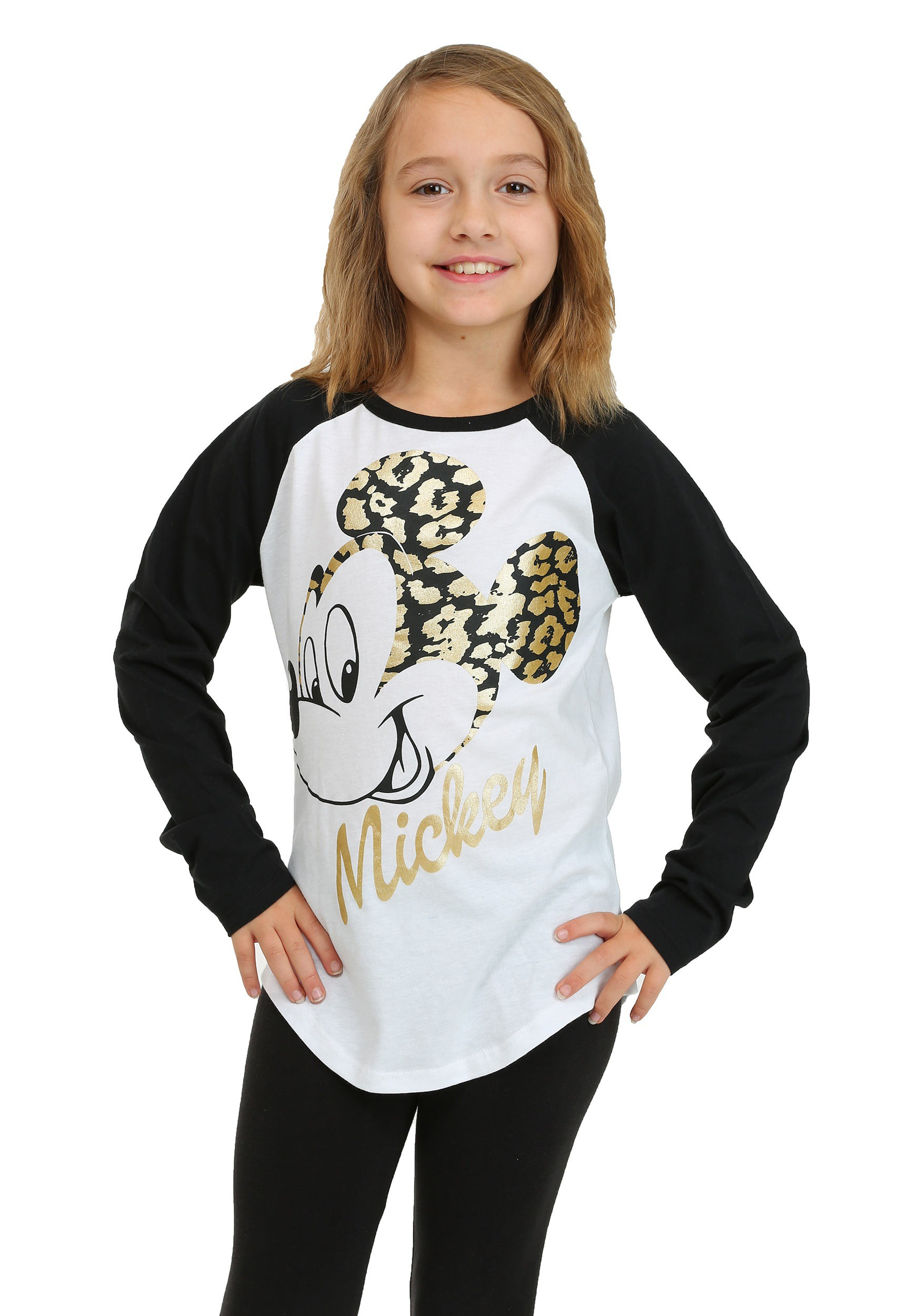 18714c2722 Girls Mickey Mouse Gold Foil Long Sleeve Raglan