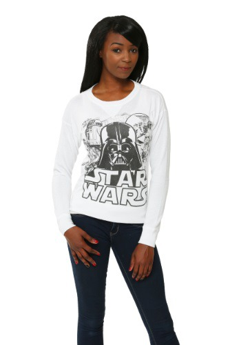 Womens Star Wars Black & White Cast Pullover Sweater