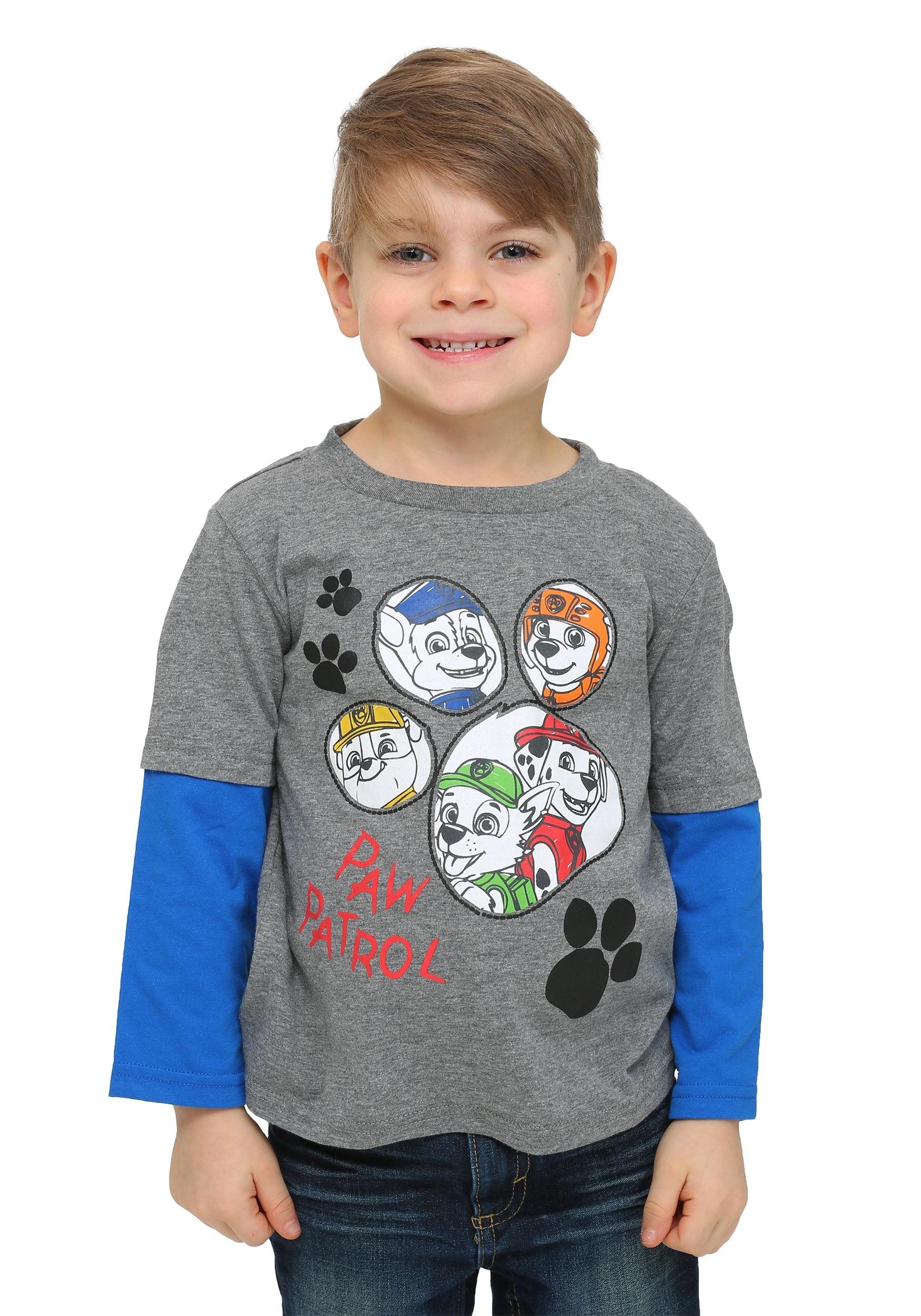 0448a69c86e0 Paw Patrol Paw Print Toddler Boys Long Sleeve Twofer