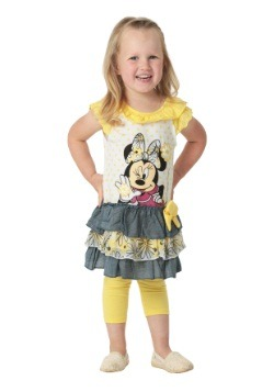 Minnie Mouse Girls Yellow Top & Leggings Set