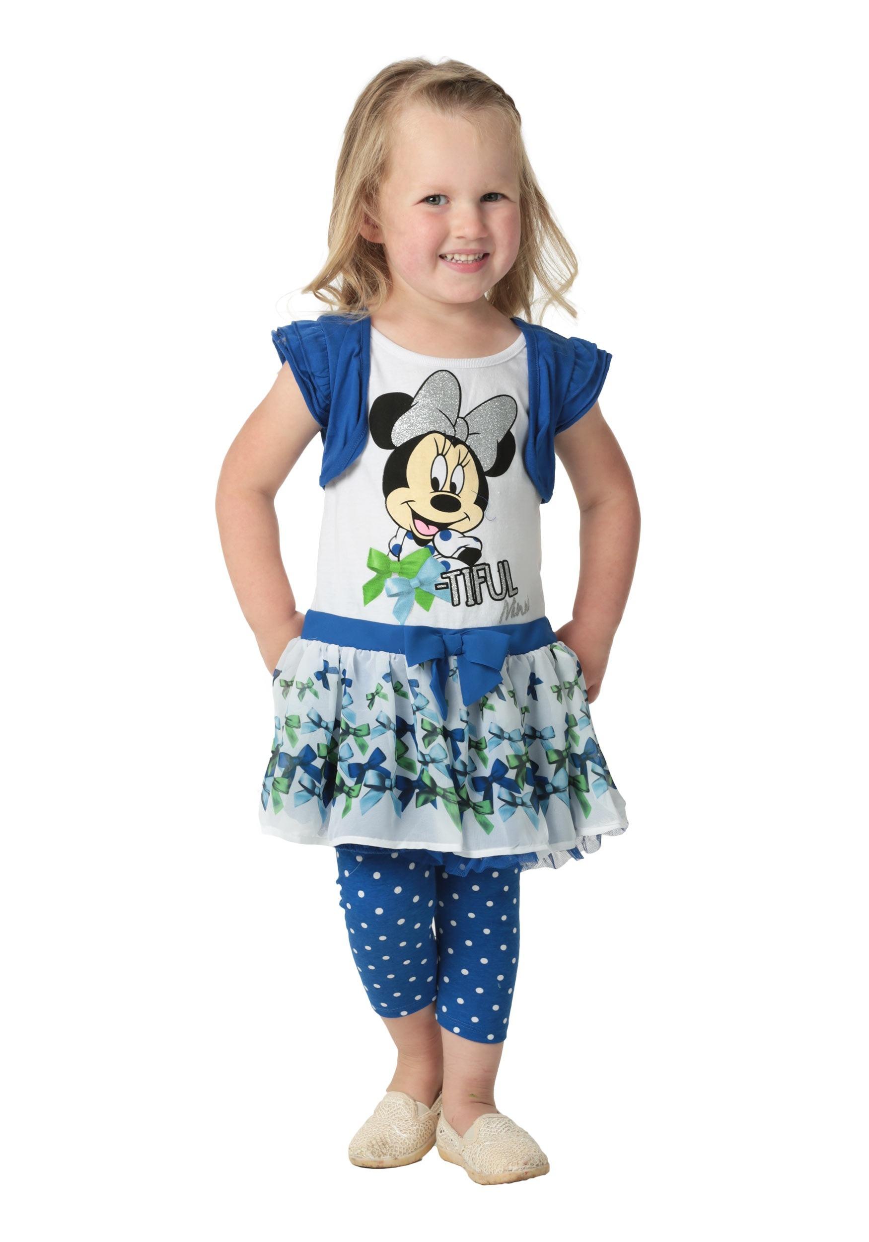 de3194cc1 Minnie Mouse Girls Blue Top   Leggings Size 4 5 6 6X 2T