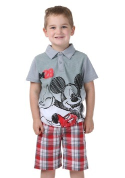 Mickey Mouse Boys Polo Shirt with Plaid Shorts