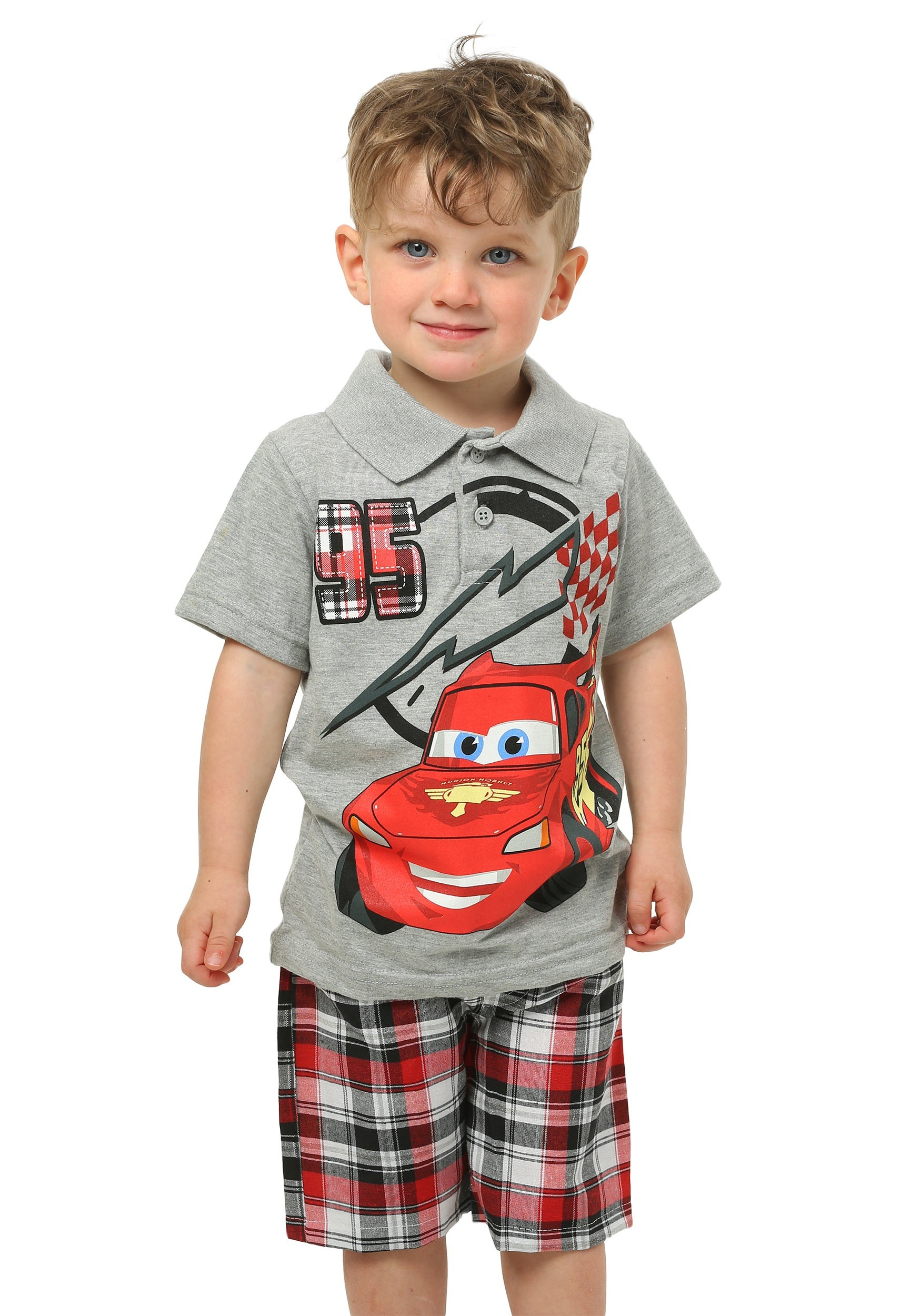 cars lightning mcqueen toddler t shirt with plaid shorts