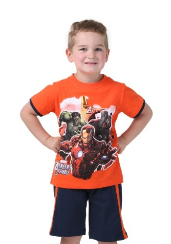 Avengers Orange Toddler Tee with Shorts