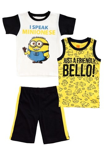 Minions Boys 3 Piece Muscle Tee Set