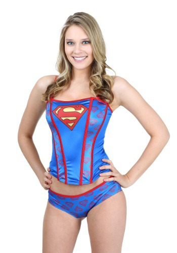 Superman Printed Corset & Panty Set