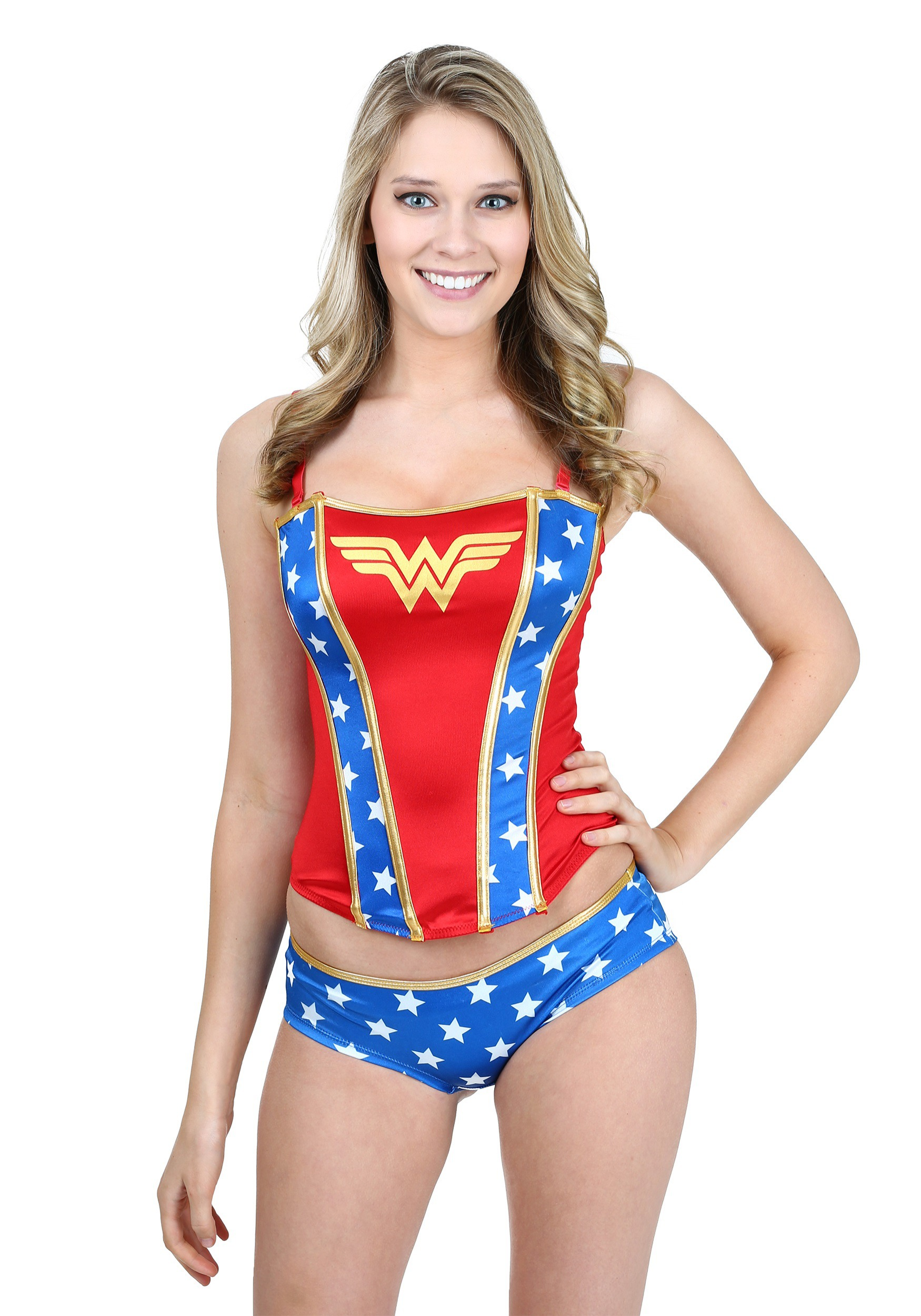 model wearing wonder woman corset