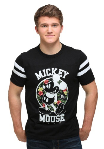 Mickey Floral Background Vasity Tee Mens