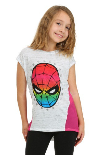 Spider-Man Rainbow Face Girls T-Shirt FZRVSSM09