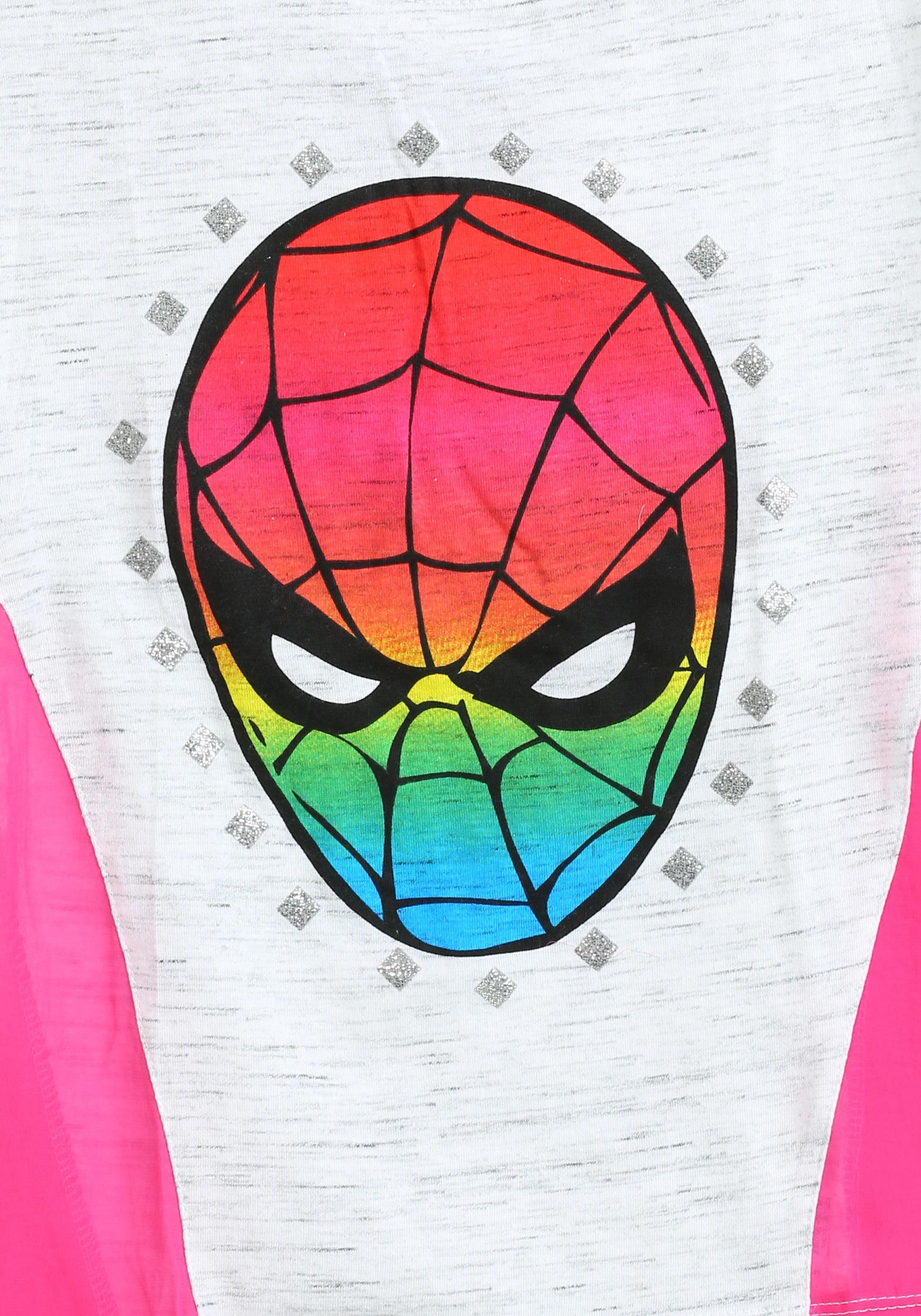 Spider Man Rainbow Face Girls T Shirt