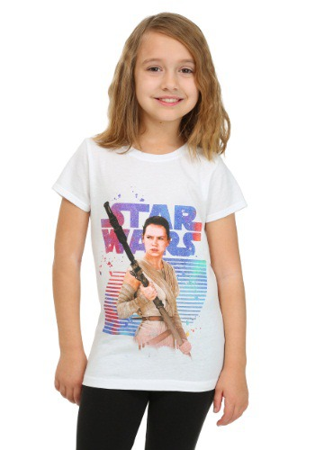 Star Wars Ep 7 Rey With logo White Girls Tee
