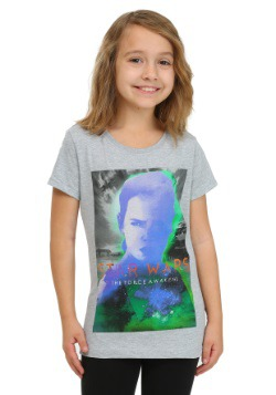 Star Wars Ep 7 Rey In Relief Heather Grey Girls T-Shirt