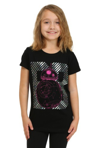 Star Wars Ep 7 BB8 Oil Slick Foil Black Girls Tee