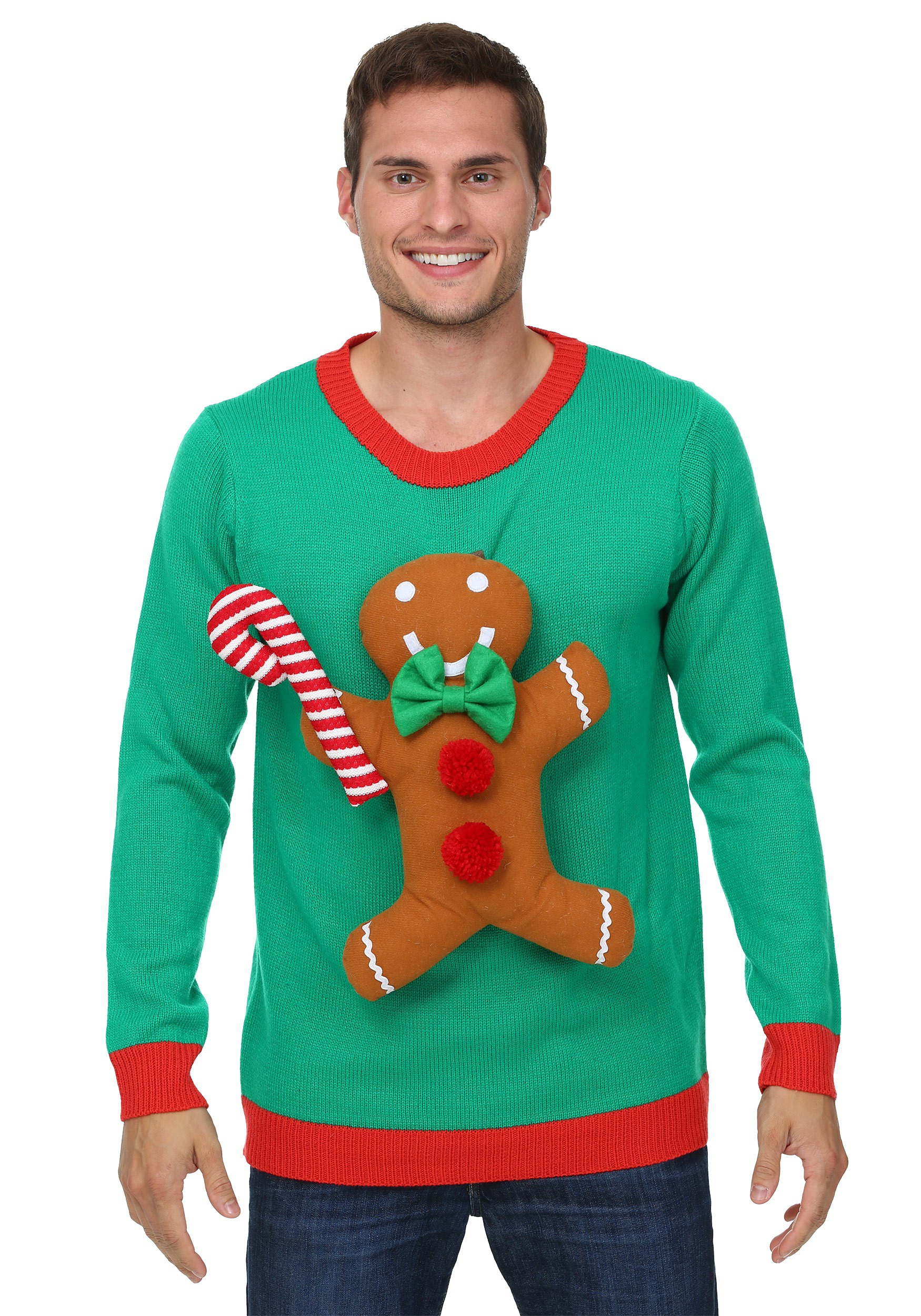 Funny Christmas Sweater.3d Gingerbread Man Ugly Christmas Sweater