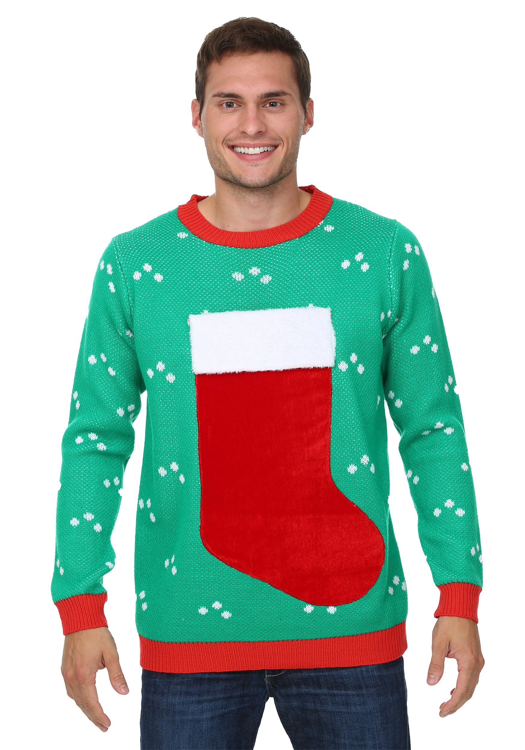 f2ae0164f 3D Christmas Stocking Ugly Christmas Sweater for Adults
