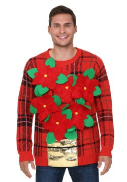 Adult Poinsettia Ugly Christmas Sweater