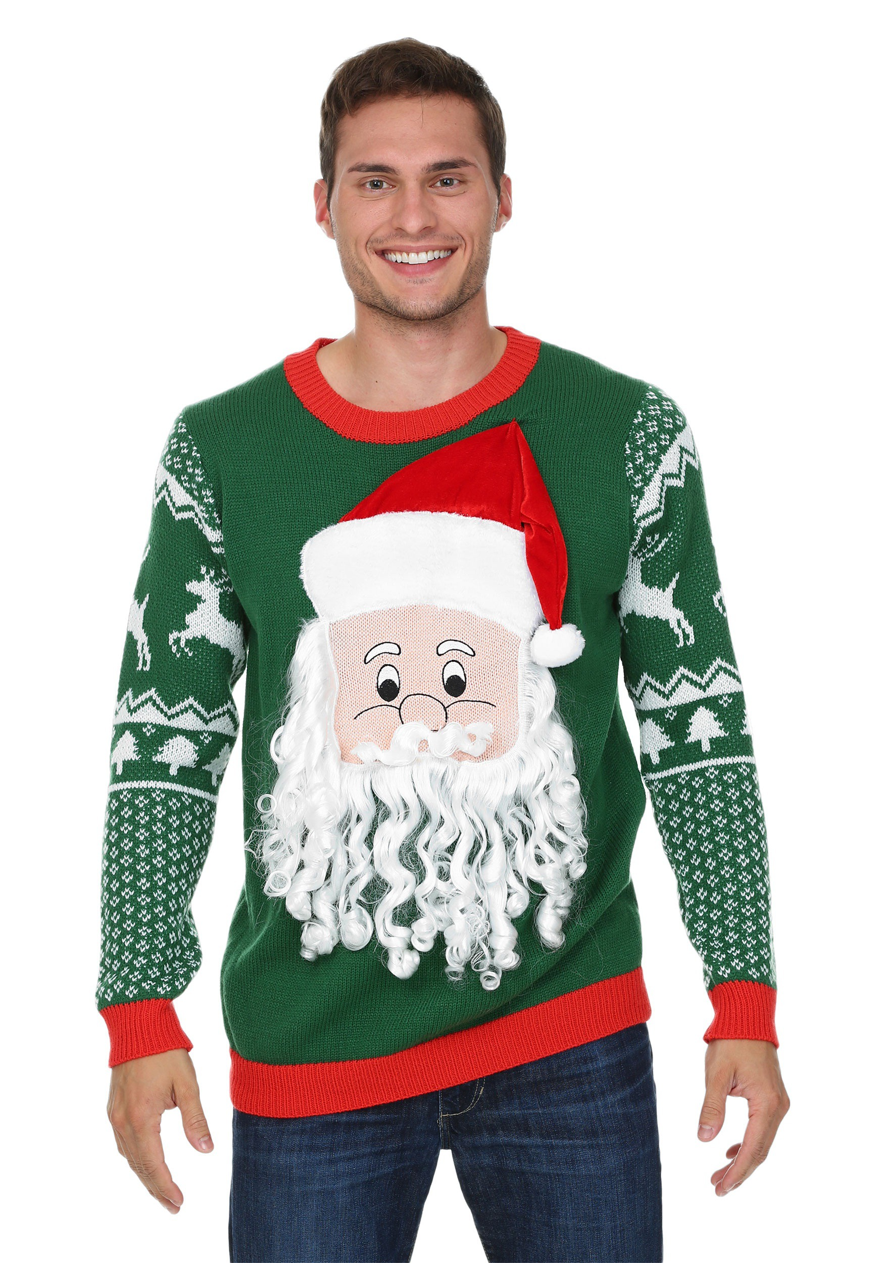 9d4cbefa08cc 3D Santa Face Ugly Christmas Sweater