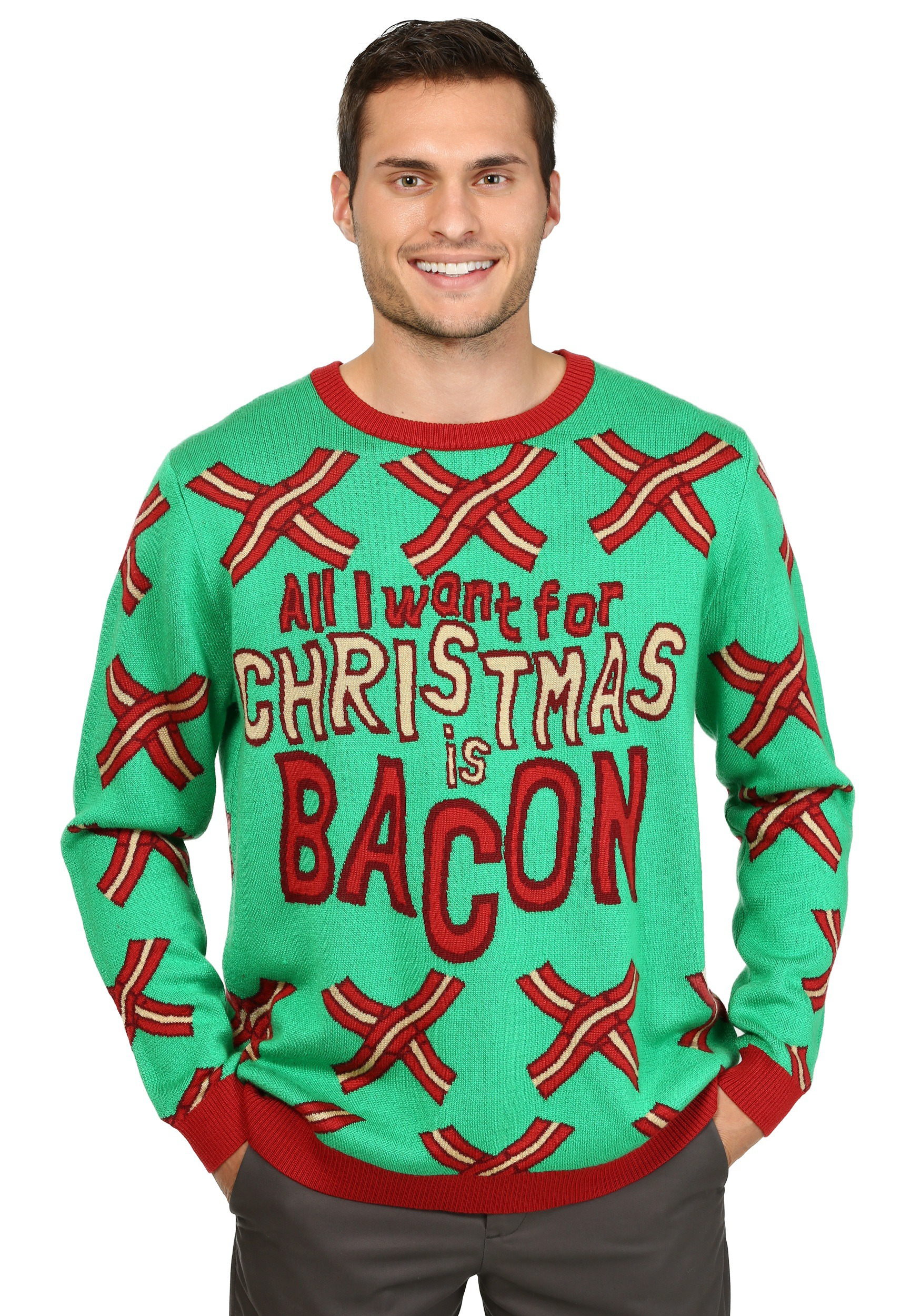 Funny Christmas Sweater.All I Want For Christmas Is Bacon Ugly Christmas Sweater