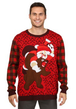 Santa Versus Bear Adult Ugly Christmas Sweater