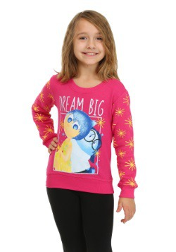 Inside Out Dream Big Girls Glitter Sleeve Sweatshirt