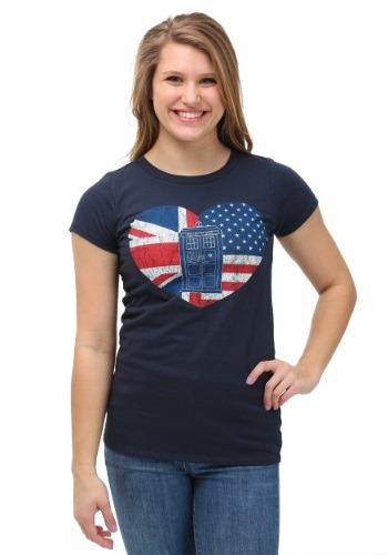Doctor Who Flag Heart Juniors Tee
