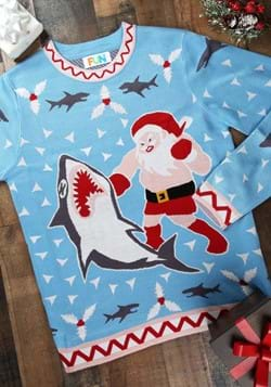 Santa vs Shark Mens Ugly Christmas Sweater
