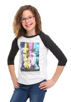 Star Wars Ep 7 Droids in Technicolor Girls Raglan Shirt