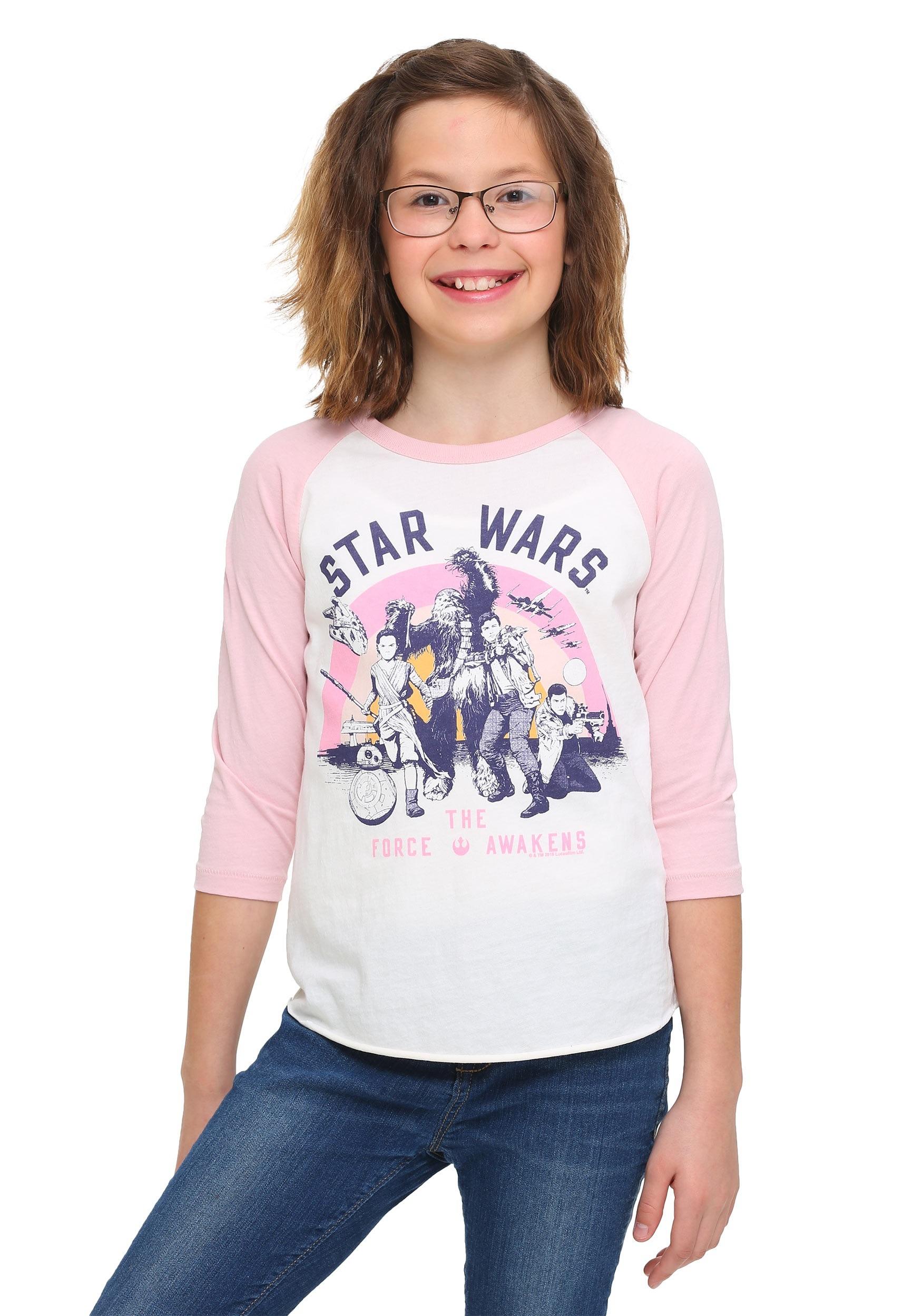 Star Wars Ep 7 Rebel Group Girls Pink Sleeve Raglan Shirt JUS28489812K