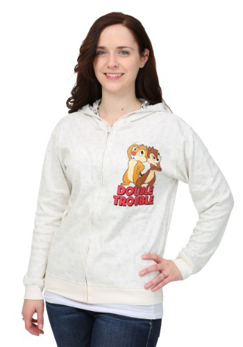 Chip N Dale Reversible Womens Hooded Sweatshirt