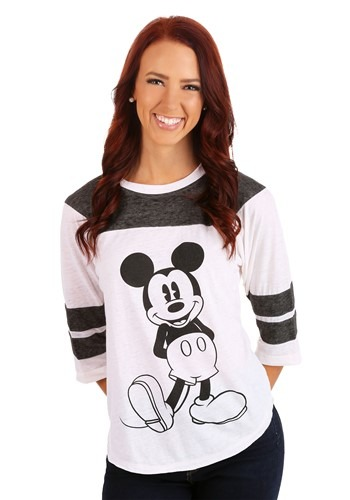 Womens Mickey Mouse 3/4 Sleeve Varsity Shirt