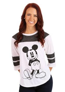 Mickey Mouse 3/4 Sleeve Varsity Burnout Juniors Shirt