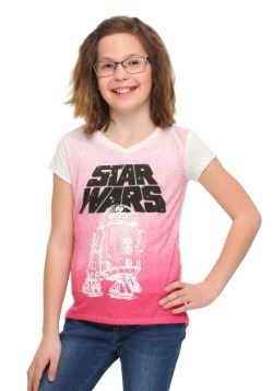 Star Wars R2 Outline Girls Ombre V-Neck T-Shirt