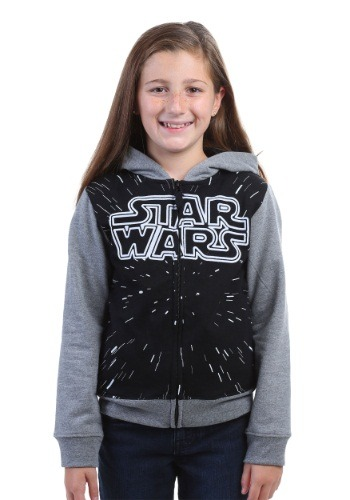 Star Wars Girls Hooded Sweatshirt w/ Contrasting Sleeves