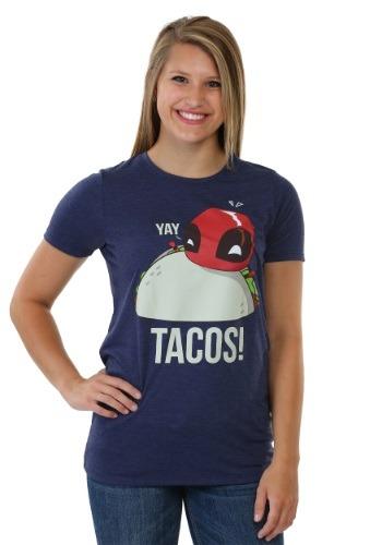 Deadpool Yay Tacos Womens Boyfriend Tee