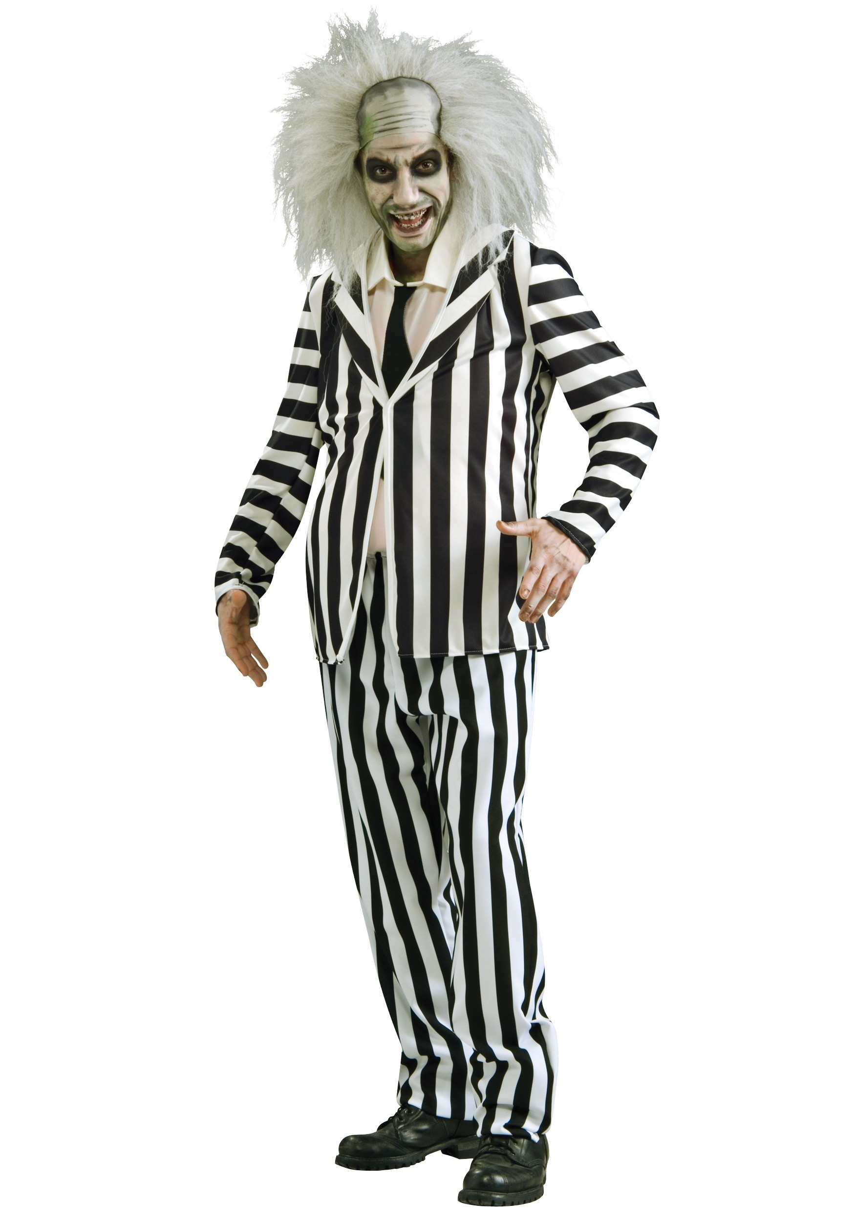 Beetlejuice Plus Size Costume Black And White Stripped Suit