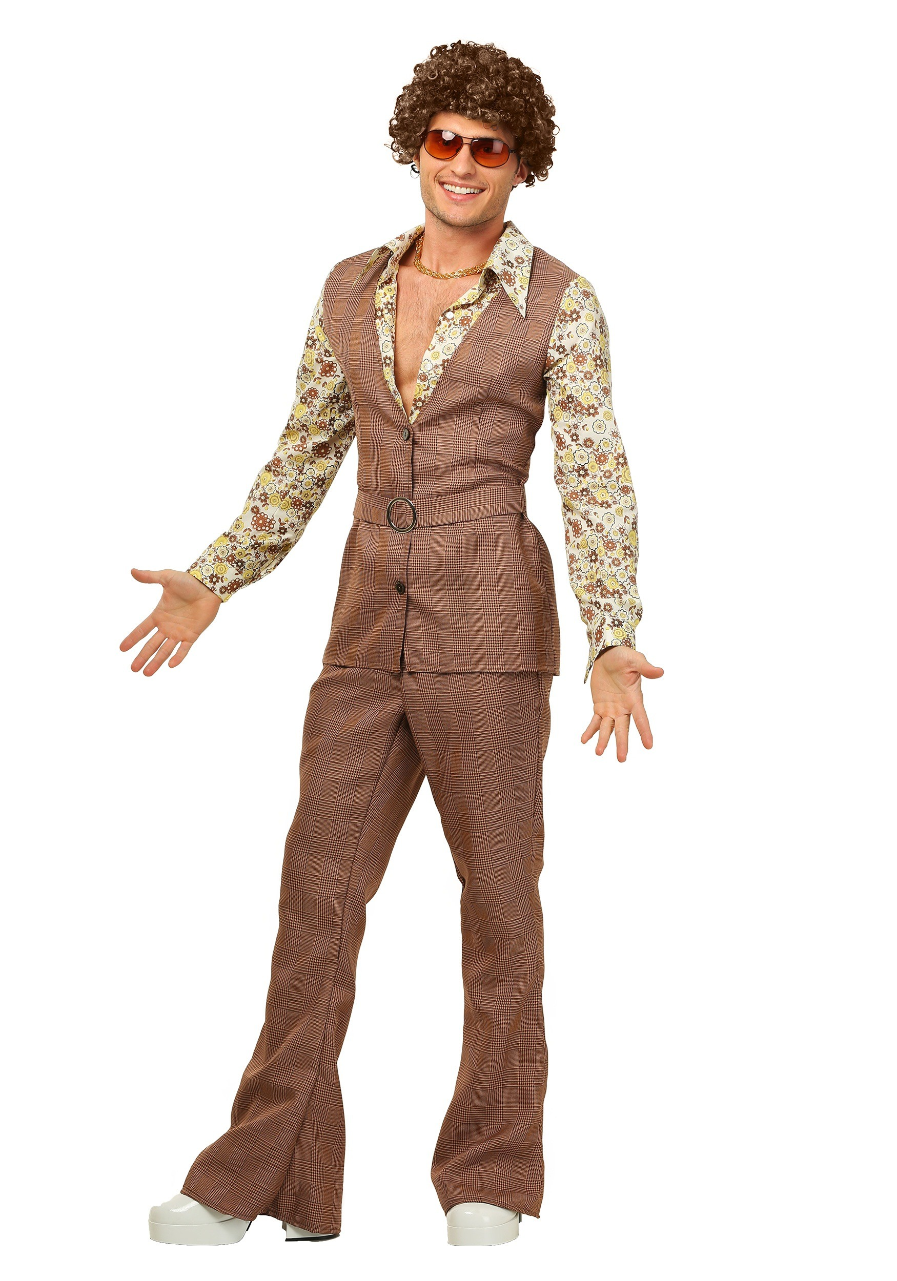 Menu0027s 70u0027s Brown Disco Suit Costume