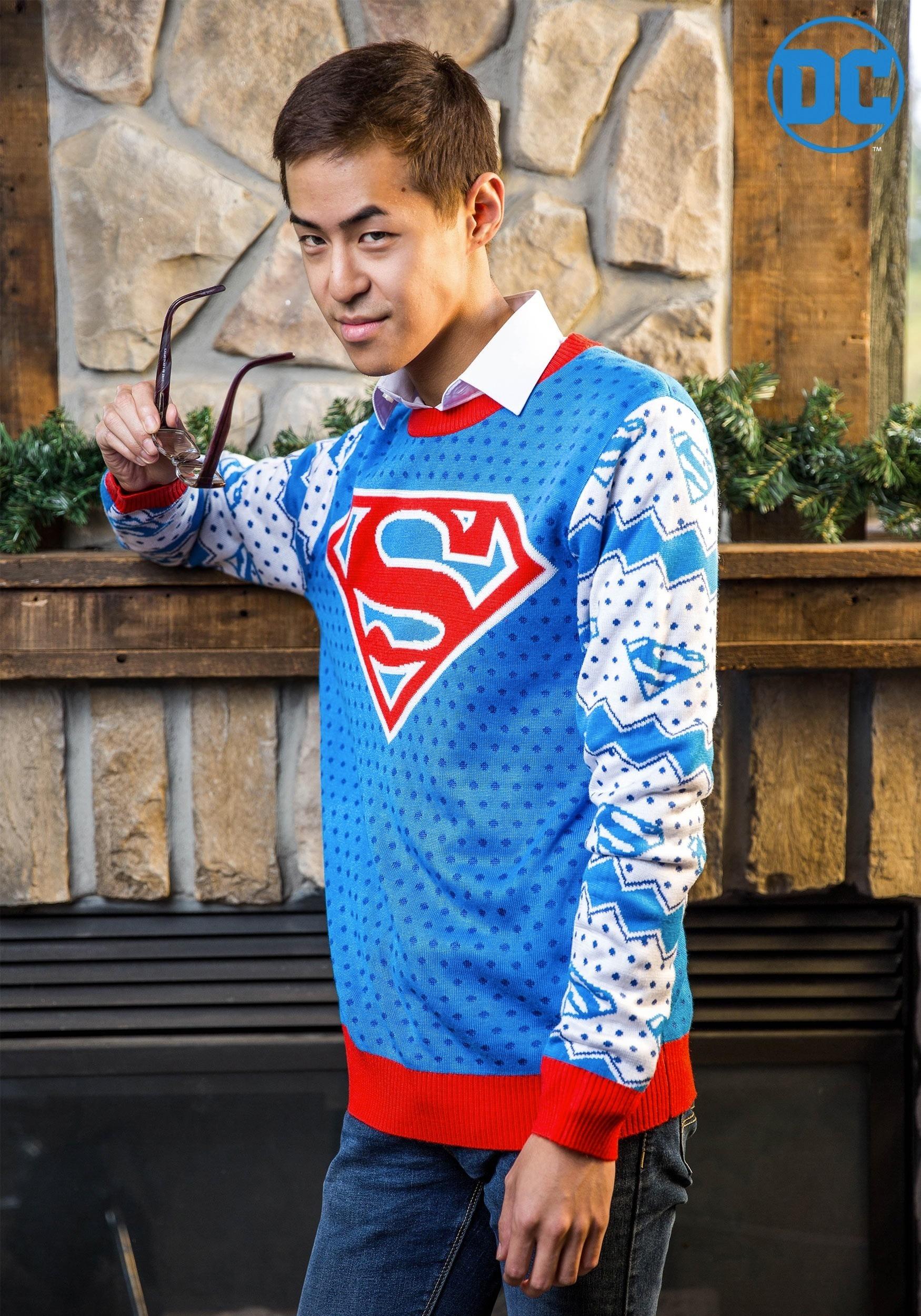 Superman Shield Sweater Ugly Christmas Sweater Tee