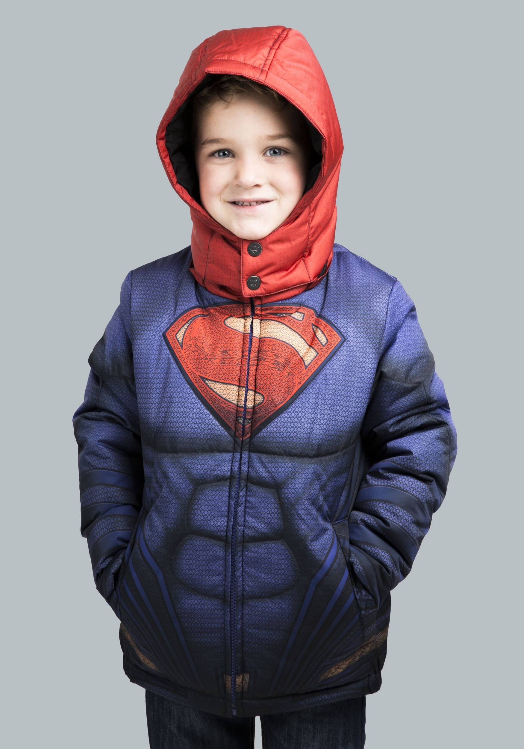With printed details like the Superman shield on the chest, and stitched-in muscles, this child's puffer jacket spares nothing to make your kid feel like the hero he was destined to be. The coat comes with specially designed debossed buttons with the Superman logo on them for a subtle touch, while the hood has a vibrant red color that resembles 5/5(1).