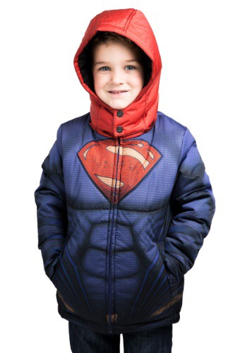 Kids Superman Puffer Super Hero Jacket