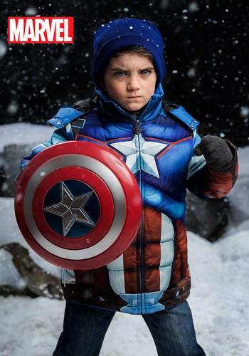 Kids Avengers Captain America Puffer Superhero Jacket