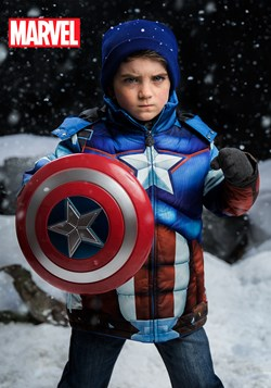 Kids Avengers Captain America Puffer Superhero Jacket