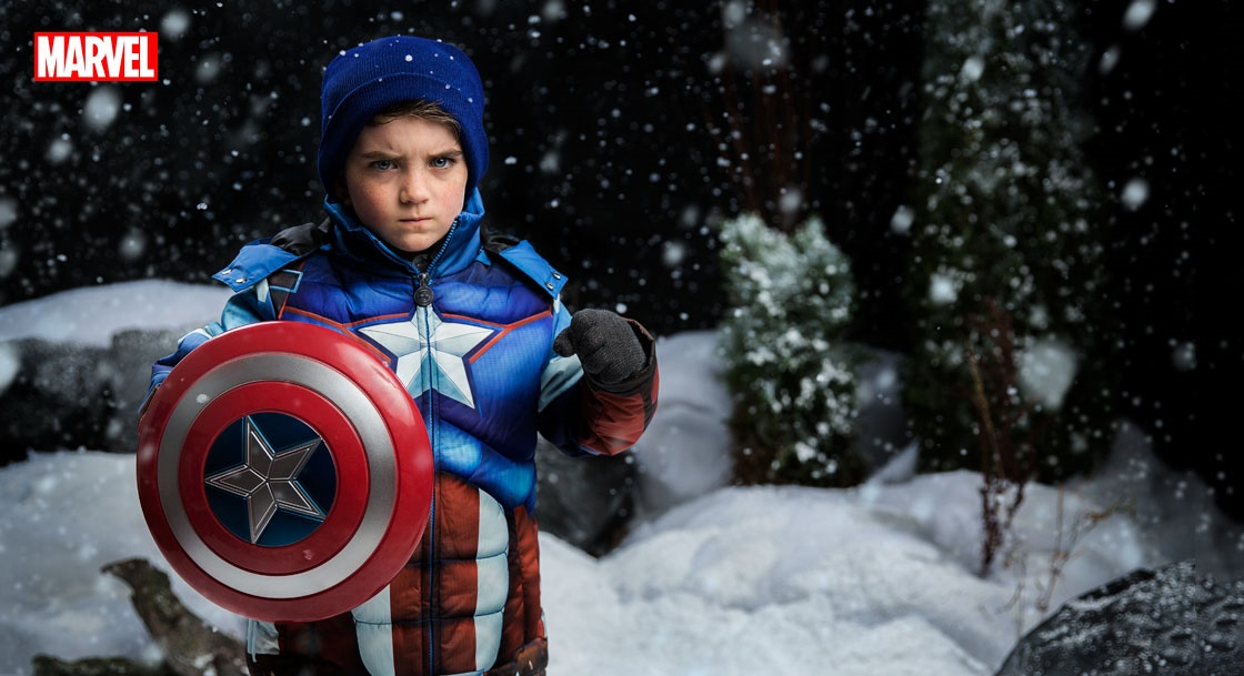 Kids Captain America Puffer Jacket