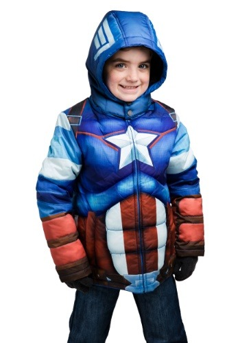 Kids Captain America Puffer Superhero Jacket
