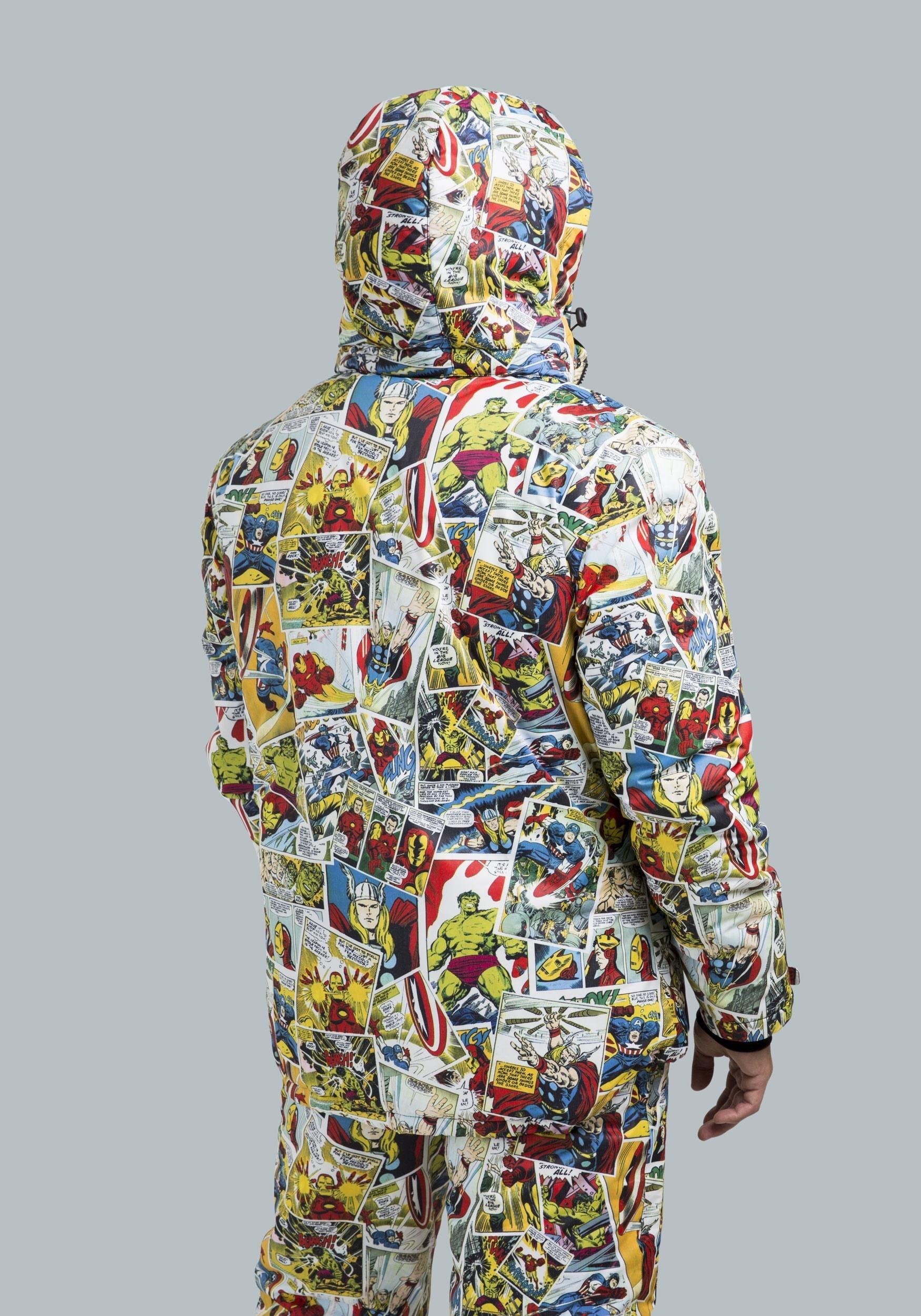 marvel comic print superhero snow jacket