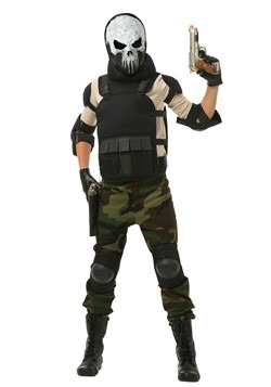 Boys Skull Military Man Costume