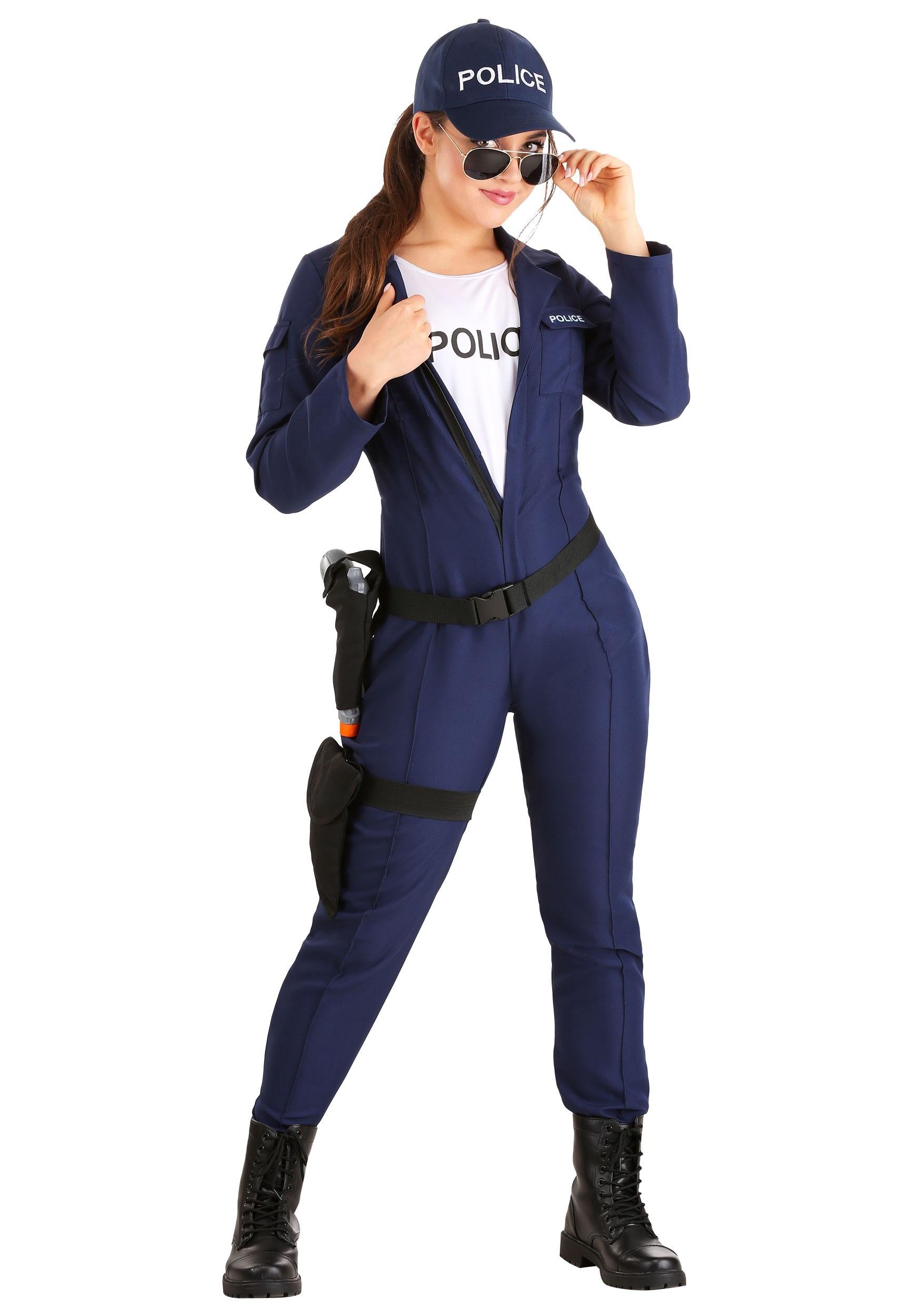 Plus Size Tactical Cop Jumpsuit Costume-9351
