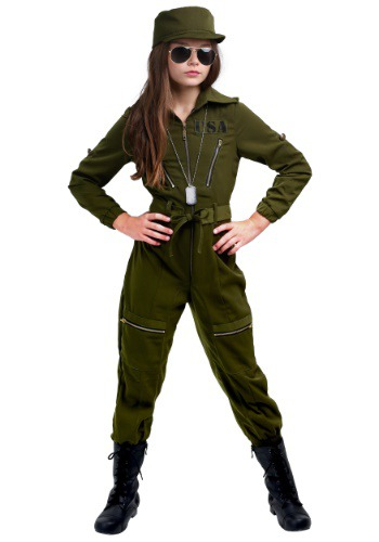 Girls Army Flightsuit Costume