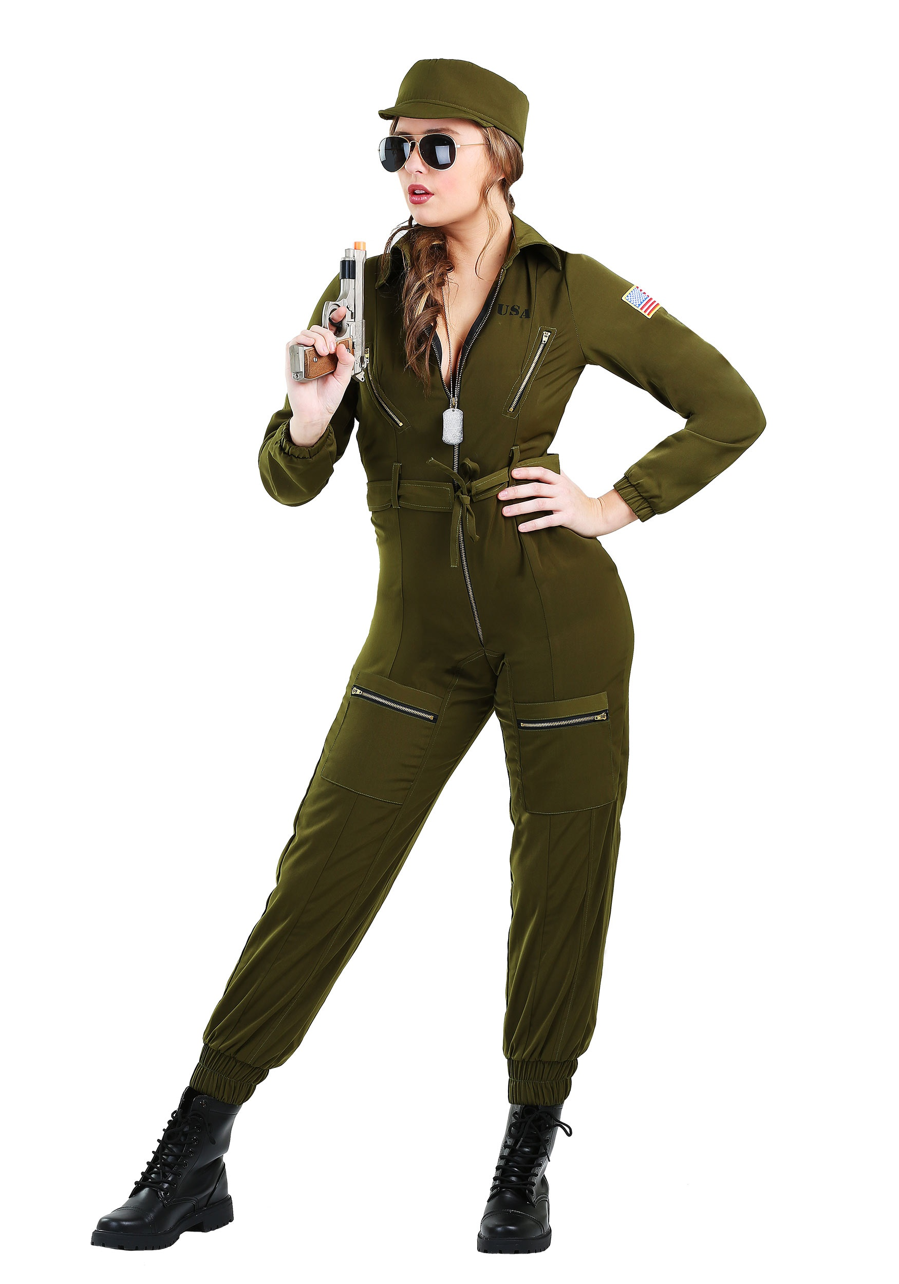 Army flightsuit costume for adult women army flightsuit costume for women solutioingenieria Gallery