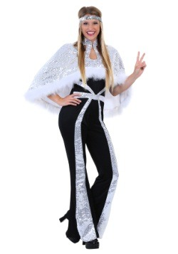 Women's Dazzling Silver Disco Plus Size Costume